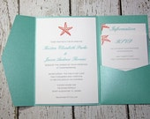 Teal Pocketfold Wedding Invitations - Beach Wedding Invitation- Shimmer Invitation - Tropical Wedding Chelsea Style DEPOSIT to get started
