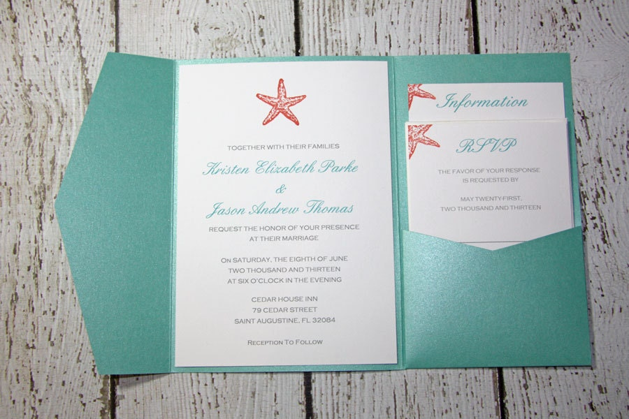 Teal Pocketfold Wedding Invitations Beach Wedding – Handmade Beach Wedding Invitations