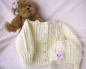 Reserved for Gale Mary 6-12 mo Crocheted Baby Irish Knit Sweater Infant Toddler sizes w  Hat Pink Flower Girls CUSTOM ORDER ONLY