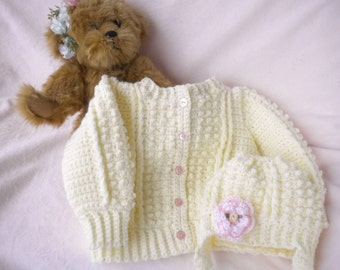 Crocheted Baby Irish Knit Sweater Infant Toddler sizes w  Hat Pink Flower Girls CUSTOM ORDER ONLY