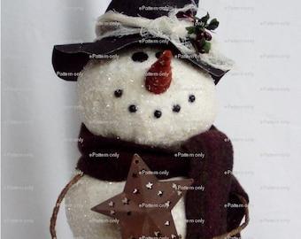 PATTERN Primitive Snowman Tree Topper Tutorial Instant Digital Download PDF epattern by Happy Valley Primitives