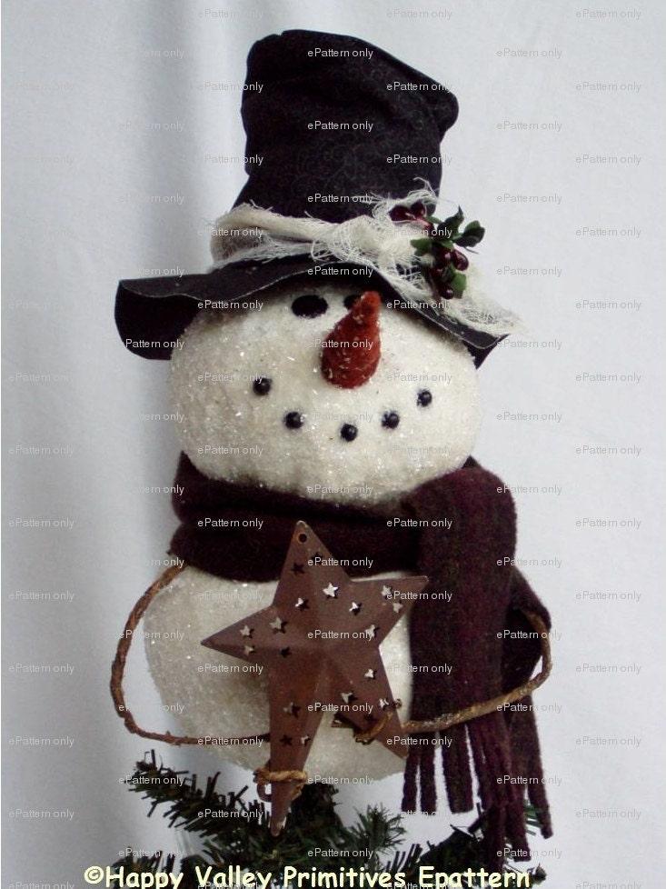 pattern primitive snowman tree topper by happyvalleyprimitive. Black Bedroom Furniture Sets. Home Design Ideas