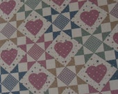 Marti Michell Fabric~1994 Pink Hearts Patchwork Quilt Cheater Fabric~Quilting Cotton Fabric By the Yard