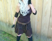 Dress - Steampunk - Burning Man - Naturally Bohemian Western Shabby Chic - Brown Dress - Short Fairy Dress - Size X- Small