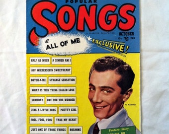 Popular Songs.  All of Me Exclusive .  October 1952 Al Martino Feature. Vintage Music Magazine. Retro Pop Magazine. Old Song Lyrics.