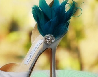 Shoe Clips Teal Green & Pearls / Rhinestone. Couture Bride Bridal Bridesmaid Christmas Accessory, Statement Engagement Day Fashion Under 100