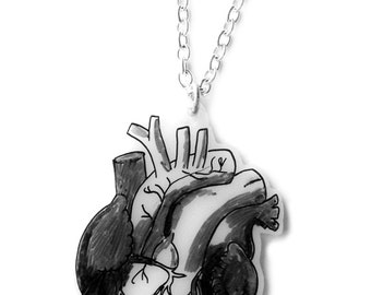 Anatomical Heart Necklace - Halloween - Medical Anatomically Correct Illustration - Black and White - Goth, Emo