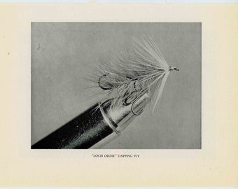 1970 FLY FISHING LITHOGRAPH - lures plugs flies original vintage fish print - loch ordie dapping fly