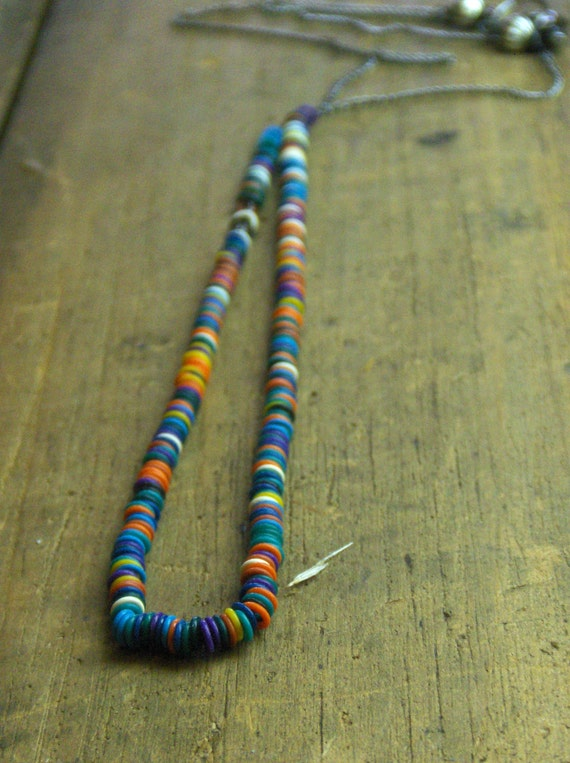 SOUTHWESTERN SPICE. colorful o-ring and gunmetal minimalist necklace