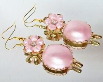 Upcycled Vintage Pink Floral Rhinestone Earrings OOAK