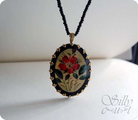 necklace - WILD ROSE - - - antique pendant,  victoriana, gothic, romantic, vintage, flower, OOAK