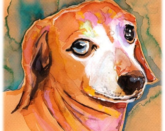 Gentle Dachshund Watercolor Painting Print, Artist-Signed