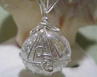 Clear Marble Pendant with silver Wire