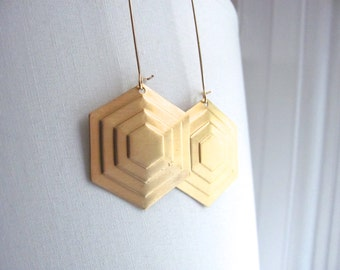 Large hexagon drop earrings, raw brass vintage hexagons on large 14k gold plate fixtures, geometric jewelry, dangle earrings