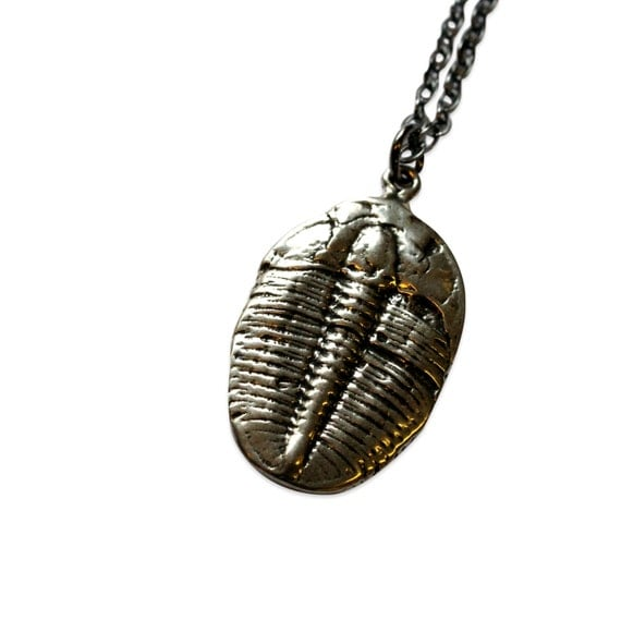 Two for One Sale....Trilobite Fossil Necklace - 3D Bronze