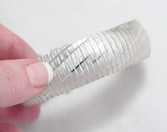 Silver wide cuff bangle bracelet omega link Italian 925 sterling silver w/ diamond cut design pattern 7 3/8 in womens FINE JEWELRY