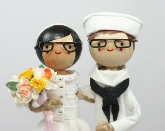 Custom Military Wedding Cake Topper with 2x CUSTOM CLOTHING