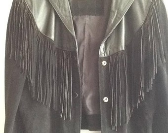 80s cropped fringe leather jacket / black leather and suede western / biker style, size l