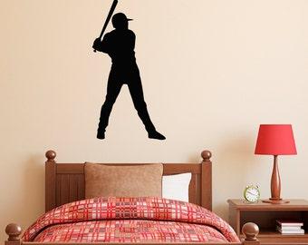 Baseball Player Wall Decal - Sports Wall Art - Boy Wall Sticker
