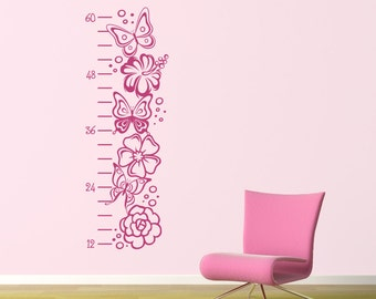 Girl Growth Chart Wall Decal - Butterflies and Flowers Growth Chart - Children Wall Decals