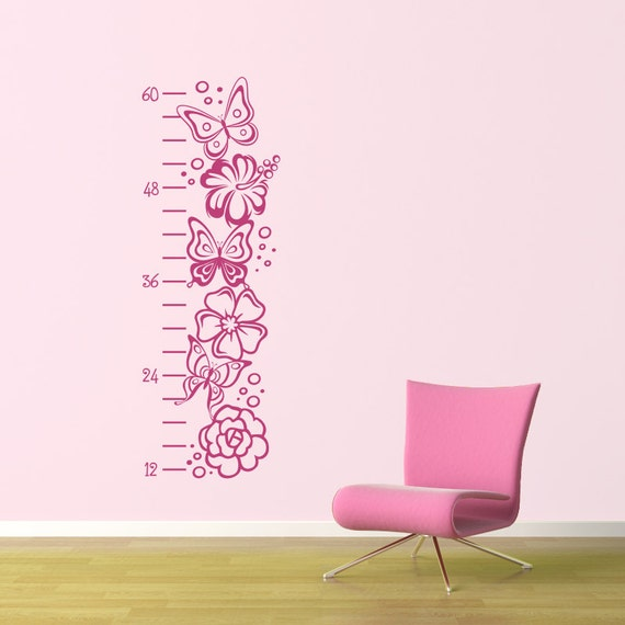 Girl Growth Chart Decal - Butterfly Growth Chart - Flower Wall Decal - Girl Wall Decor