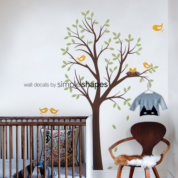 baby nursery wall decal tree with birds and nest decal original design by simple