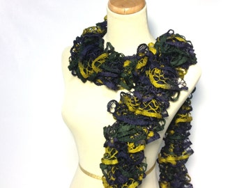 Valentine's Day, Sale, Ruffle Scarf, Knit Scarf, Hand Knit Scarf, Gift Idea For her ,Fashion Accessory, Navy Blue,Women Accessory, Fiber Art