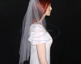 "Simple Cut Edge Veil Elbow Length 30""  Available in White, Diamond White, Light Ivory, Ivory, and Champagne"