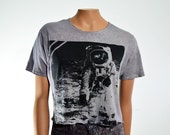 SALE Astronaut T Shirt Bleached Black Nasa Buzz Aldrin Oversize Grunge Loose Fit Women's Small Medium