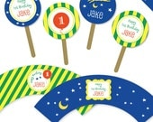 Goodnight Moon Party - Personalized DIY printable cupcake wrapper and topper set