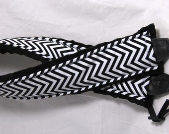 "Personalized Chevron Neoprene Camera 26"" NECK Strap with Minky - Pick your Color"