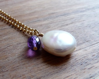 Freshwater Pearl Coin Necklace, Purple Amethyst Gemstone, June Birthstone, February Birthstone, Gold Filled Chain Necklace, Pearl Jewelry