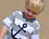 SALE Boys Anchor Shirt in Navy on Striped Tee
