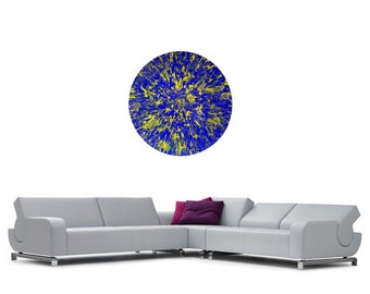 Large Abstract Painting, 47 inch round