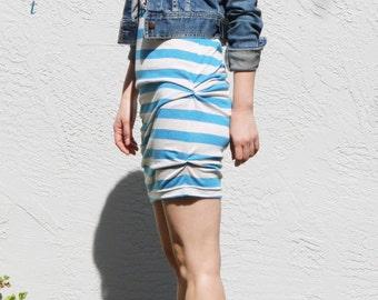 Side Pleat T-Shirt Dress, Blue Striped Dress, Casual Tunic Dress, Summer Mini Dress, Side Ruched Dress / Handmade