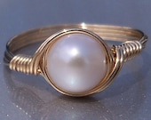 White Pearl Ring 14k Gold Filled Ring