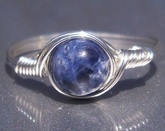 Sodalite Argentium Sterling Silver Wire Wrapped Ring