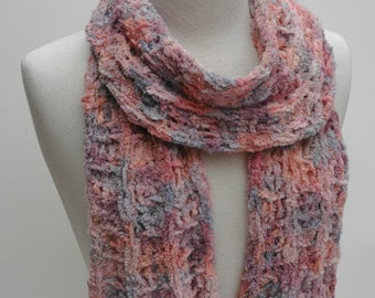 Cotton Chenille Scarf- Hand Knit-Pink/Peach/ Mauve/ Gray