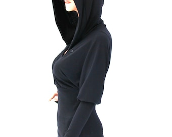 Hooded Top / Black Hooded Top / Extra Long Sleeve Hooded Top / Extra Long Sleeve Hoodie / Extra Long Sleeve