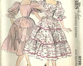 Vintage 50s Sewing Pattern / McCalls 9799 / Party Dress / Size 15 Bust 33
