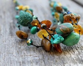 Emerald Blue Beach Fashion Jewelry Green Natural Stones Amber Turquoise Necklace Mediterranean Amazonite Multi Strand Brown  Summer