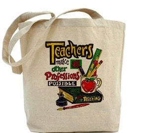 Teacher Tote - Cotton Canvas Tote Bag - Gift Bags - Teacher Appreciation - Gift For Teachers