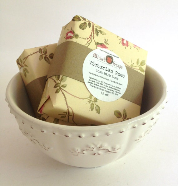 Victorian Rose Goats Milk Soap Bar by WickedSoaps