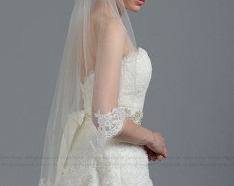 Mantilla bridal wedding veil light ivory with alencon lace