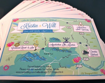 100 4x6 Postcard Prints with Custom Save the Date Map (same design but choose your city/location)