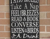 "PATIO Rules Sign, Home Decor Sign, Porch sign, Cabin Sign, 12"" x 24"" Sign, Deck sign, Patio Decor Sign, DAWNSPAINTING Signs, Primitive Sign"