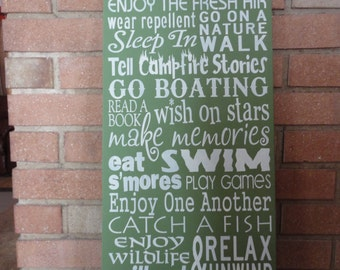 "Lake Rules/Enjoy The Fresh Air/Green Home Decor Sign/Wood/Primitive Sign/Cabin Sign/12"" x 24""/Choose Your Own color"