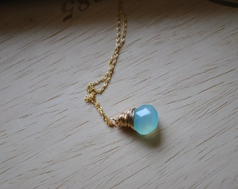 Aqua Blue CHALCEDONY Gold Necklace