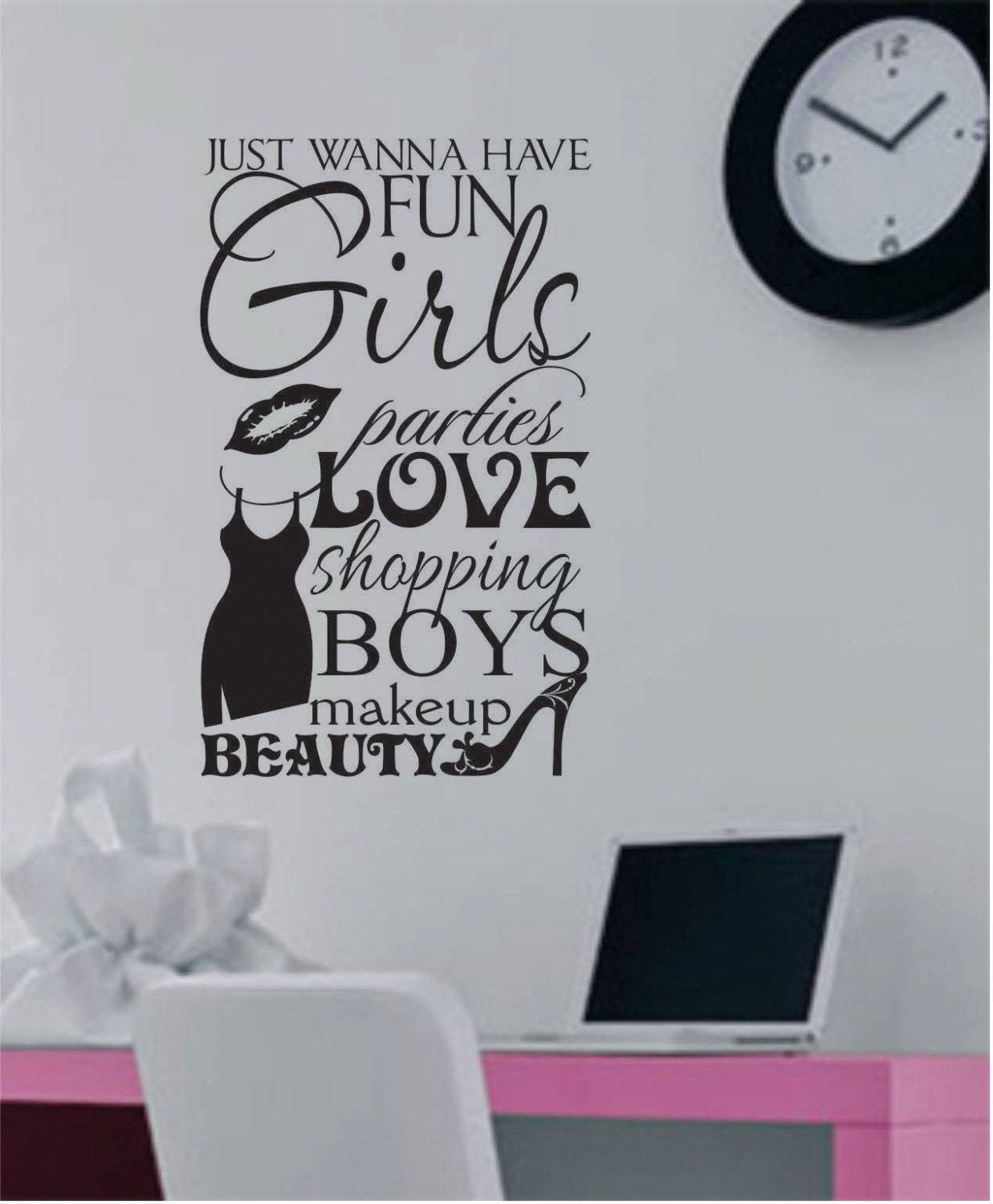 Girls Wanna Have Fun Vinyl Wall Lettering Vinyl Wall Decals