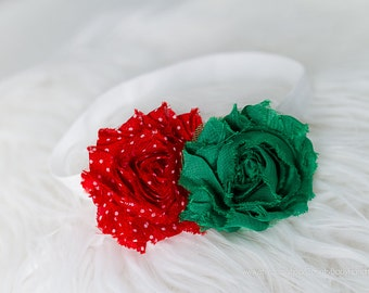 Deal of the Day Shabby Roses Headband in Holiday Colors Red and Green...baby headband...christmas...holiday headband...red baby headband